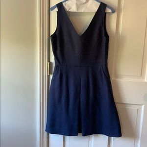 Gap Linen A Line Dress with Pockets. Navy Blue 2